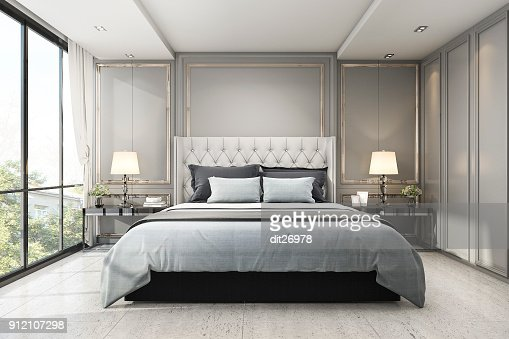 3d rendering modern luxury classic bedroom with marble decor : Stock Photo