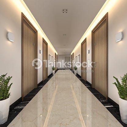3d rendering modern luxury wood and tile hotel corridor : Stock Photo