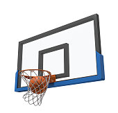 3d rendering of a basketball ball falling inside a basket attached to a transparent backboard. Playing team games. Scoring victory. Activity and exercise.