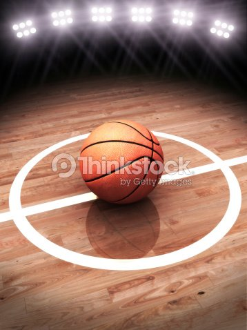 3 d desenho de uma bola de basquete em uma quadra de iluminação com