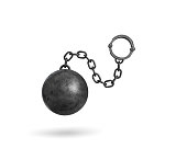 3d rendering of a black iron ball and chain with a cuff hanging on white background. Restrictions and limits. Loss of freedom. Boundaries.