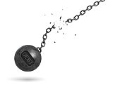 3d rendering of a black iron wrecking ball with a writing DEBT on it swings on a broken chain. Settling all debts. Restructuring. Accounting help.