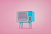 3d rendering of a blue retro TV set standing on legs and with antennas on top stand on pastel pink background. Entertainment technologies. Retro style interior. Media sources.