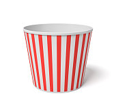 3d rendering of a large popcorn bucket with red and white stripes standing completely empty on a white background. Movie night. Empty carton bucket. Snacks to fill.