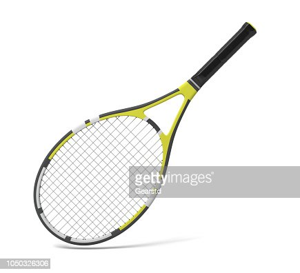 3d rendering of a professional tennis racquet with black and yellow stripes. : Stock Photo