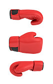 3d rendering of a red right boxing gloves isolated on white background. Sports accessories. Fighting class. Exercise and self-defense.