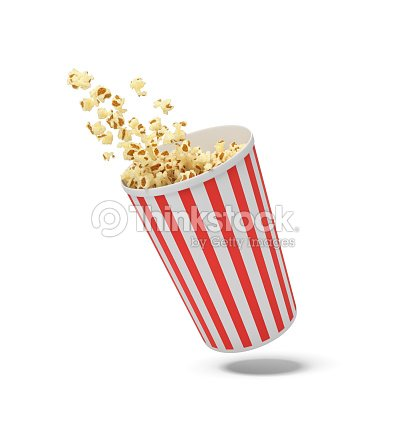 3d rendering of a round striped popcorn bucket hanging in the air with popcorn flying out of it : Stock Photo