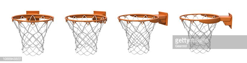 3d rendering of a set made of four basketball baskets with orange loop and fixing bracket. : Stock Photo