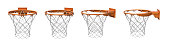 3d rendering of a set made of four basketball baskets with orange loop and fixing bracket. Empty basket. Zero points. Losing game.