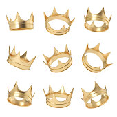 3d rendering of a set made up of several golden crowns hanging on a white background in different angles. Royal power. Monarchy and leadership. Precious gold circlet.