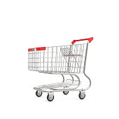 3d rendering of a shopping cart with a red handle isolated on white background. Sales and promotions. Grocery shop and supermarket. Going shopping.