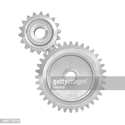 3d rendering of a two metal gears of different size connected to each other on a white background. : Stock Photo