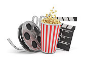 3d rendering of a video reel, popcorn bucket and a clapperboard on a white background. Cinema and movies. Watching films. Entertainment.