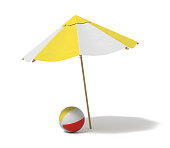 3d rendering of a white and yellow beach umbrella and inflated beach ball. Vacation for two. Catching rays. Rest at seaside.