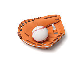3d rendering of a white baseball with red stitching lying inside an open leather mitt on a white background. New sport equipment. Bat and ball game. Mitt and ball.