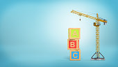 3d rendering of a yellow construction crane stands on a blue background near three giant alphabet toy blocks. Basic construction principles. Enter development business. Builder's education.