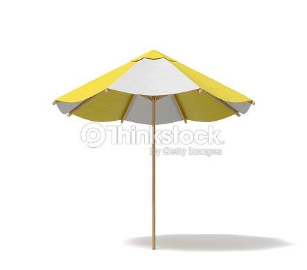 3drendering einer isolierten sonnenschirm mit wei en und gelben streifen auf wei em hintergrund. Black Bedroom Furniture Sets. Home Design Ideas