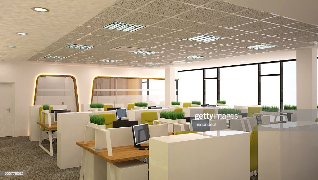 D rendering of an office open space interior design stock photo