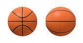 3d rendering of basketballs shown in different view angles on a white background. Team sport. Scoring game points. Net games.