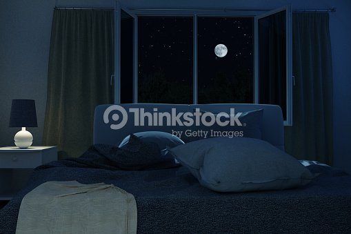 3d rendering of bedroom with unmade and rumpled bed in the full moon night : Stock Photo