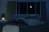 3d rendering of bedroom with unmade and rumpled bed in the full moon night