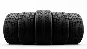 3d rendering of car tires in row on a white background