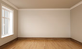 3d rendering of Empty Room Interior White brown Colors