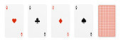 3d rendering of five playing cards, where four of them are different aces, and one card turned over. Poker and gambling. Card ranks. Classic card design.