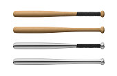 3d rendering of four baseball bats made of wood and steel, with and without handle-wraps in horizontal view. Baseball equipment. Force of strike. Pitching role.