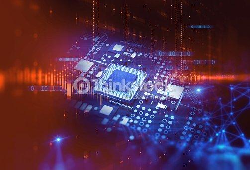 3d rendering  of futuristic blue circuit board : Stock Photo
