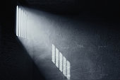 3d rendering of grunge prison cell with the shadows of stanchions projected on wall from light ray on window