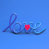 3d rendering of hand lettering word love and illuminated pink heart shape. Greeting card for holidays, couples express emotion. Social media ready made post. Valentines day surprise. Plastic look