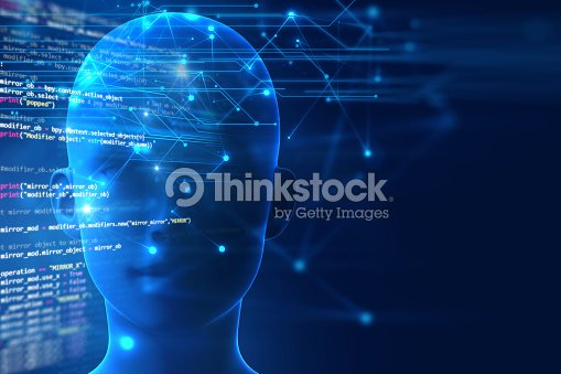 3d Rendering Of Human Brain On Programming Language Background Stock