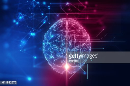 3d rendering of human  brain on technology background : Stock-Foto