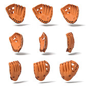 3d rendering of many orange leather baseball gloves in different angles of view on a white background. Baseball gear. Hand protection. Sports equipment.