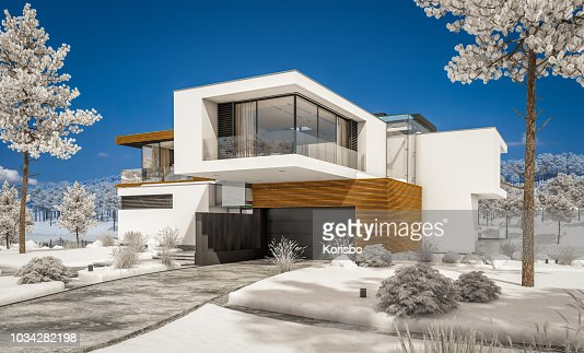3d rendering of modern cozy house by the river in winter. : Stock Photo