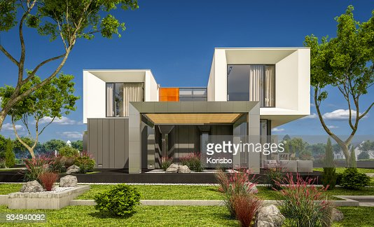 3d rendering of modern cozy house in the garden : Stock Photo