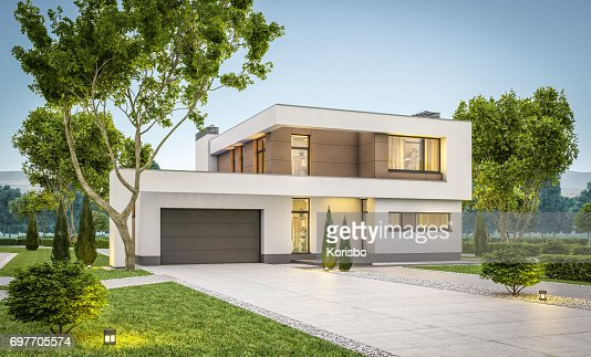 3d rendering of modern cozy house summer evening : Foto de stock