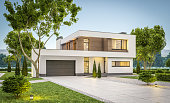 3d rendering of modern cozy house with garage for sale or rent with many grass on lawn. Clear summer evening with soft sky. Cozy warm light from window