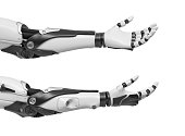 3d rendering of set of two black and white robotic hands with palms open and fingers relaxed and sticking out. Robotics and machinery. High tech solutions. Android hands.