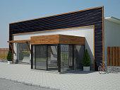 3d rendering of storefront design