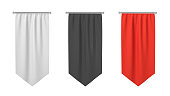 3d rendering of three rectangular black, white and red flags hanging vertically on a white background. Symbols and identity. Flags and heraldic. Company and country flags.