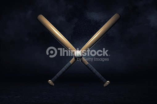 3d rendering of two baseball bats lying over each other in a cross with a small ball in their center. : Stock Photo