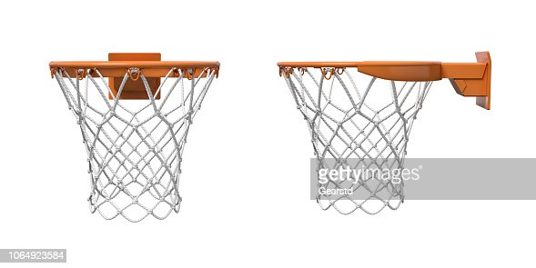 3d rendering of two basketball nets with orange hoops in front and side views. : Stock Photo