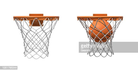 3d rendering of two basketball nets with orange hoops, one empty and one with a ball falling inside. : Stock Photo