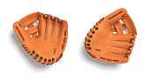 3d rendering of two left handed orange baseball gloves lying on a white background in a top view. Uniform sport equipment. Hand protection. Baseball catcher mitt.