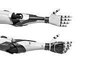 3d rendering of two robot arms with hands relaxed and open for handshake. High tech and invention. Human and robot cooperation. Friendly technologies.