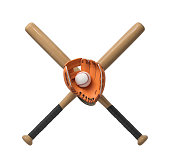 3d rendering of two wooden baseball bats with a wrapped handle, a glove and a ball itself on a white background. Baseball team. Sport equipment. Bat and ball sport.