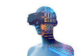 3d rendering of virtual human in VR headset on futuristic technology and programming  languages background represent virtual reality technology .