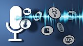 3d rendering pictogram voice recognition system of blue ground